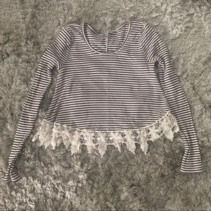 Charlotte Russe Burgundy Red/White Stripped Top